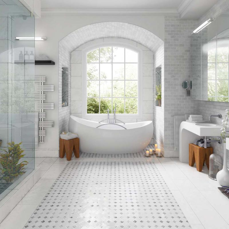 white tiled bathroom floor walls nh