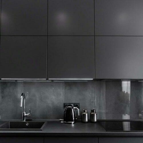 tiled kitchen black grey