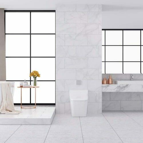 white NH marble bathroom tile